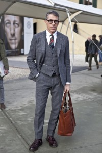 Grey-flannel-three-piece-suit-with-madras-style-tie