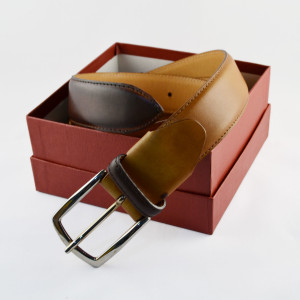 Tan hand-burnished detail leather belt handmade in Italy by Fratelli Borgioli