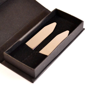 Long length brass shirt collar stiffeners made in Italy by Collari