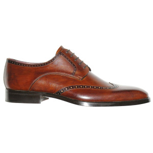 Lacci Fratelli Borgioli men's custom made Brown Burnished lace-up derby shoe. Punch Detail. Hand made in Italy