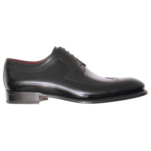 Lacci Fratelli Borgioli men's custom made Black leather lace-up derby shoe. Punch and wing-tip detail. Hand made in Italy