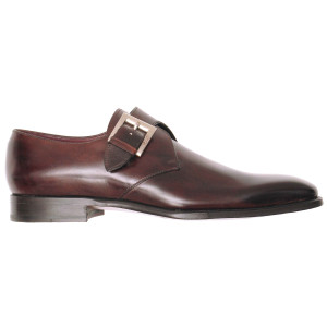 Lacci Fratelli Borgioli men's custom made Brown Burnished Monk shoe. Hand made in Italy