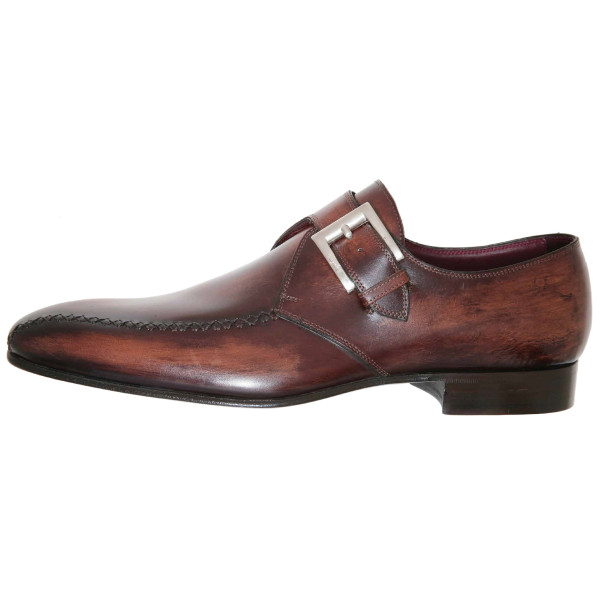Lacci Fratelli Borgioli men's custom made Brown Burnished Monk shoe. Side seam detail. Hand made in Italy