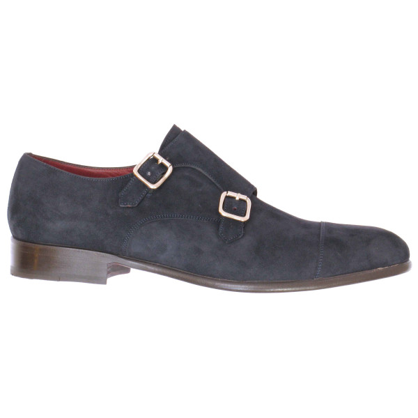 Lacci Fratelli Borgioli men's custom made navy suede Double Monk shoe. Hand made in Italy