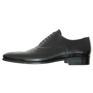 Lacci Fratelli Borgioli men's custom made Black Leather lace-up oxford shoe. Stitch Punch Detail. Hand made in Italy