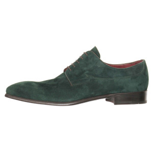 Lacci Fratelli Borgioli men's custom made Green Suede lace-up derby shoe. Hand made in Italy