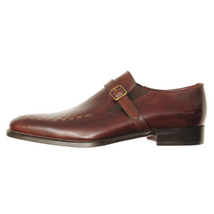 Lacci Fratelli Borgioli men's custom made Brown Burnished Monk shoe. Stitch Detail. Hand made in Italy