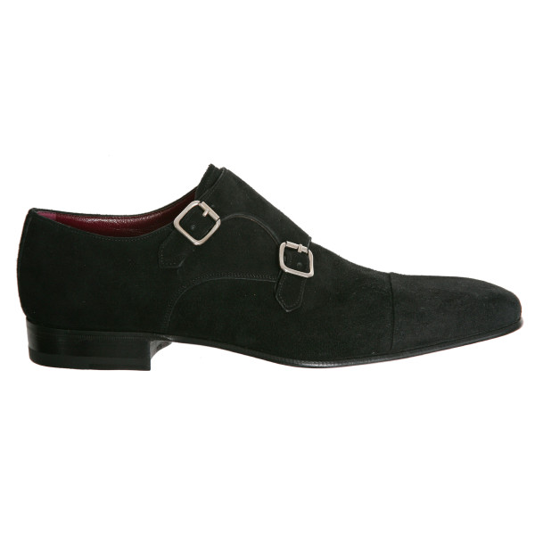 Lacci Fratelli Borgioli men's custom made black suede Double Monk shoe. Hand made in Italy