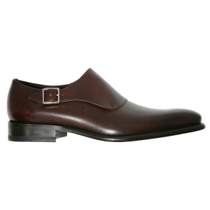 Lacci Fratelli Borgioli men's custom made Brown Monk shoe. Side buckle. Hand made in Italy