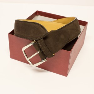 Fratelli Borgioli dark brown suede belt