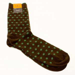 Brown mens socks cotton with green spot pattern